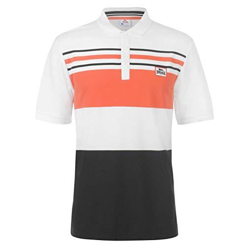 Yarn Dye Stripe Shirt (Lonsdale Herren Yarn Dye Polo Shirt Klassisch Fit Streifen Weiß/schwarz/cha XXXXL)