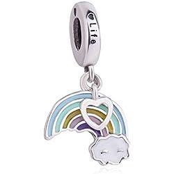 Abalorio de plata de ley 925 con forma de corazón y forma de estrella en forma de corazón para pulsera Pandora