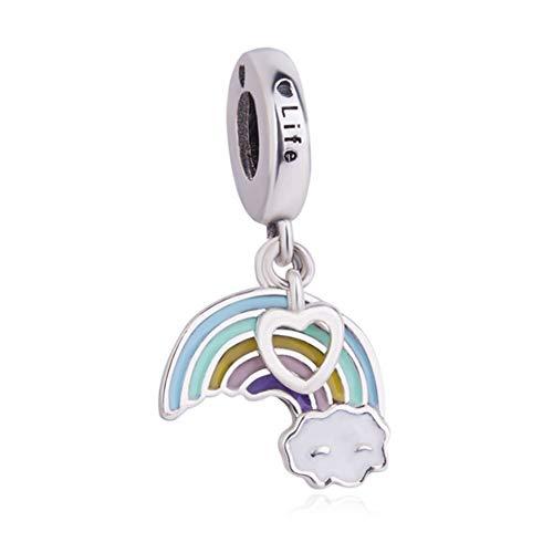 Ciondolo con motivo arcobaleno in argento sterling 925 con ciondolino a forma cuore, idea regalo per compleanno, ciondolo adatto per braccialetti pandora