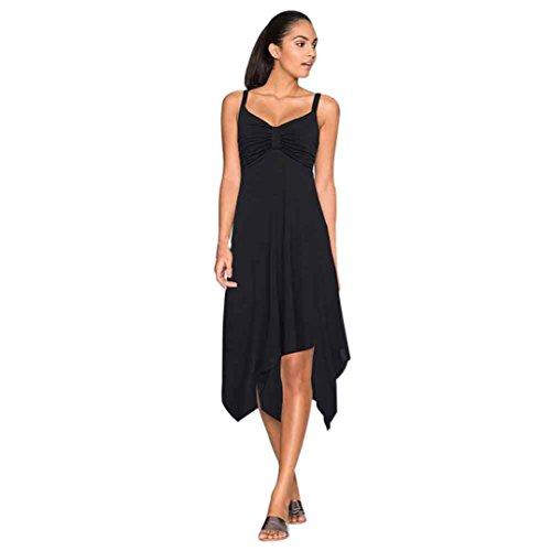 Weiblicher Kleid, Hmeng Normaler Unregelmäßiger Frauen Somme Sommer Feiertags Strand Sundress langes Kleid Schwarz