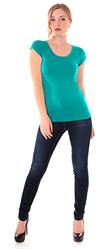 Easy Young Fashion Damen Basic T-Shirt Rundhals Slim Fit Einfarbig Tealblue