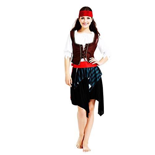 Rock Crew Kostüm Party - FKMYS Lady Pirate Crew Rollenspiel, Halloween Kostüme beinhalten Kopfbedeckungen, Jacken, Tops, Gürtel, Röcke, for Verschiedene Partys (geeignet for Größe 160cm-175cm)