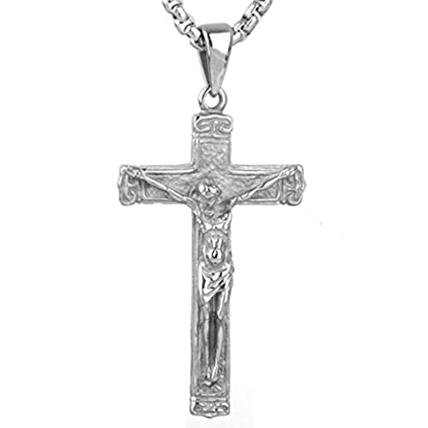 Epinki Fashion Jewelry Stainless Steel Men Jesus Cross Pendant Necklace Vintage Silver