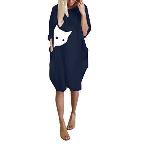 Zegeey Damen Blusenkleid Einfarbig Langarm Rundhals Drucken Herbst LäSsige Lose Minikleid Basic Oberteil Pullover T-Shirtkleid Mit Tasche(A3-Marine,EU-42/CN-XL) (2019 Women Halloween-kostüme Best S)