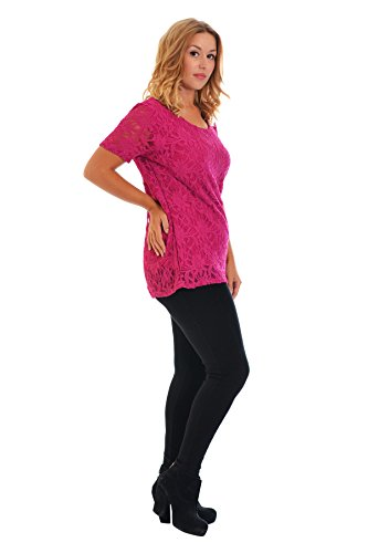 Neues Damen Übergrößen Klappen Spitze Top Frauen Tunika Blumen Ladies Plus Size T-Shirt Lace Nouvelle Collection Kirsche