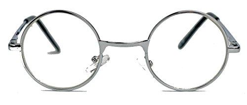 Geek Style kleine Streberbrille mit Metallrahmen Nerdbrille rund Klarglas SLN (Silber)