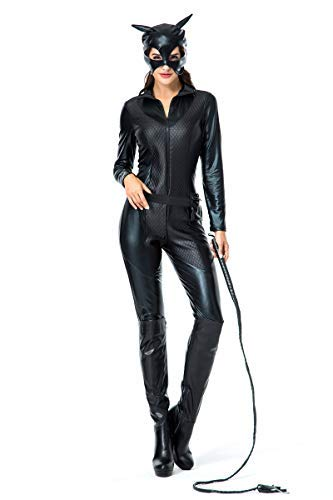 Girl Kostüm Catwoman - Fanessy. Sexy Catwoman Kostüm Set für Damen Cat Girl Kostüm Catsuit Schwarz Katze Cosplay Jumpsuit Verkleidung Outfits für Fasching Halloween Karneval Party
