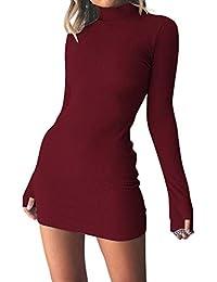 e38079077eee Modaworld Vestiti Vestito da Donna Elegante Plaid Donna a Manica Lunga Vita  Empire Full Length Maxi Abito con…
