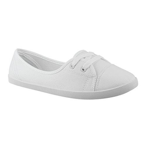 Elara Damen Ballerinas Sneaker Slipper sportlich Chunkyrayan 3955A White-40