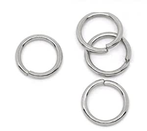 200 X STAINLESS STEEL OPEN JUMP RINGS 10 MM