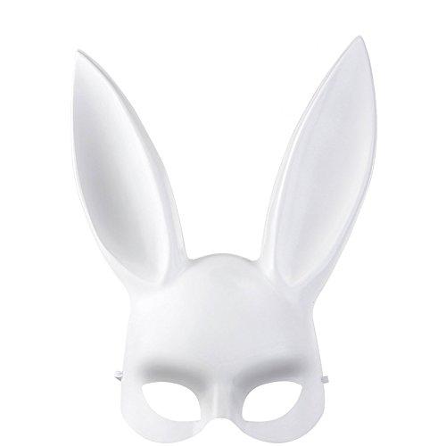 Ostermaske für Männer oder Frauen, Ostern Halloween Masquerade Bunny Rabbit Maske Zubehör für Erwachsene weiß