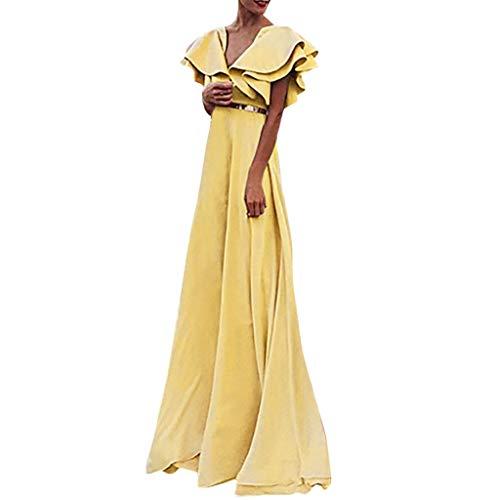 """POIUDE Kleider Damen V-Ausschnitt Fliegender Ã""""rmel Abendkleider Elegant Cocktailkleid Maxi Kleid Lang Chiffon Party Kleid(Gelb, XXL)"""