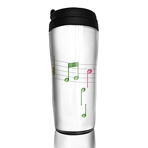 QIUJUAN Colorful Music Notes Travel Coffee Cup Durable Water Bottle Mug