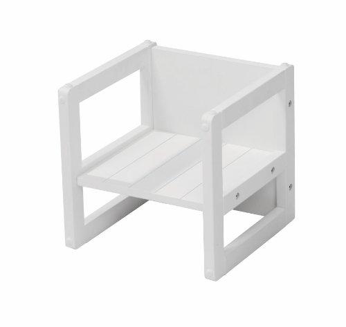 Taburete roba para niños en estilo country, taburete reversible con 3 alturas de asiento, blanco