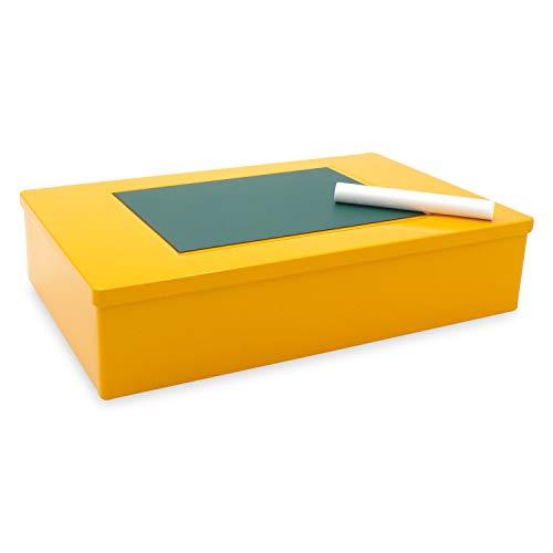 Aufbewahrungsboxen - Geschenkverpackung Metall - Box ocker mit Magnettafeln
