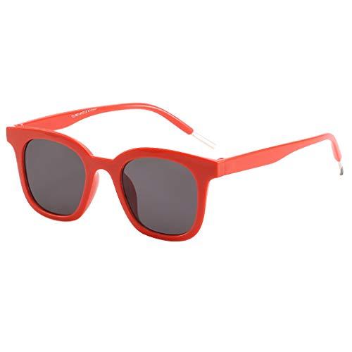 fazry Herren Damen Einfach Mode Jahrgang Flacher Spiegel Mode Brille Brillen Sonnenbrille(rot)