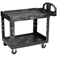 Rubbermaid Commercial Products FG452058BLA Chariot Utilitaire de Taille Moyenne pour Charge Lourdes avec Rebords, Noir