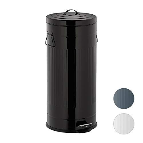 Relaxdays, Negro, Cubo Basura Pedal Retro con Recipiente Interior para Baño y Cocina, Acero Inoxidable-Plástico...