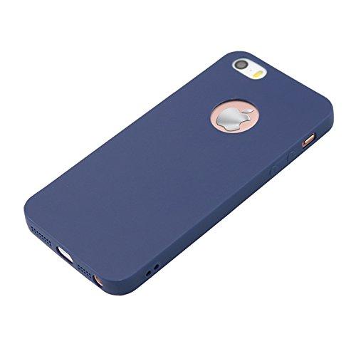 iPhone 5cas, allbuymall Ultra Fin avec Protection [Candy pur] doux Pure Color Premium semi-transparent non encombrement Coque en TPU pour Apple iPhone 5/5S/5C/SE (10,2cm) noir foncé