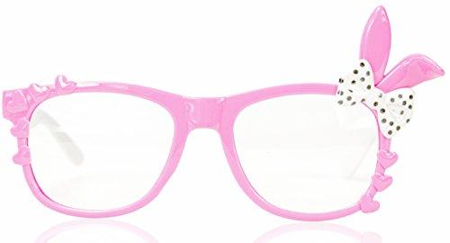 NERD-Brille Bunny ohne Seh-Stärke Damen Fenster-Glas Fasching Karneval Rosa Weiß Panto-brille Wayferer Horn-Brille Party-Brille (Nerd Ein Mädchen Halloween Für)