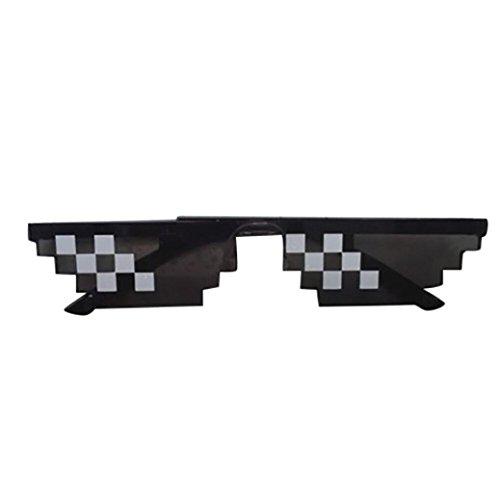 Btruely Herren Moda Gafas de Sol Thug Life Gafas 8 bits píxeles Tratar con él Gafas de Sol Unisex Gafas PC para Mujer y Hombre (B)