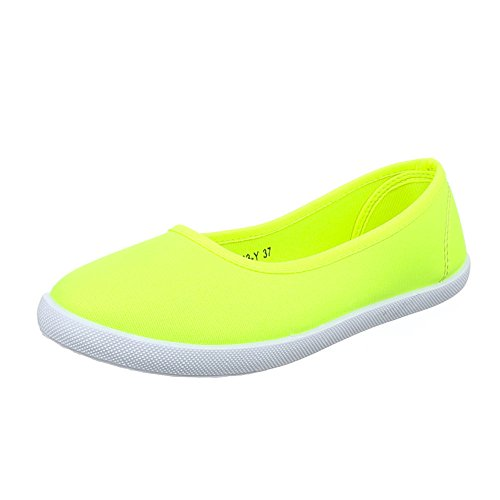 y Slipper 1 Halbschuhe Freizeitschuhe 943 Schuhe Damen Neongelb 6qnxwUAPP