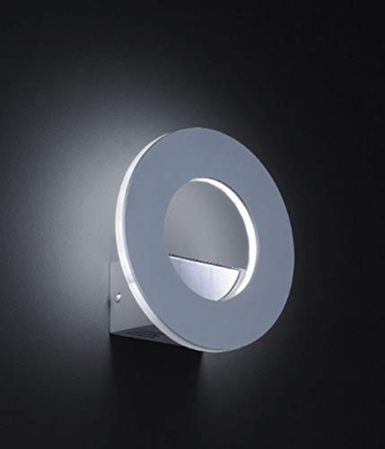 KHL Design Wandlampe Ring aluminium/Glas 7W mit Schalter 18cm Indirektes Licht KH4610086