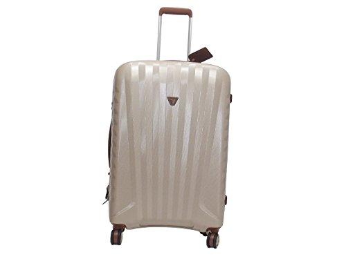 Roncato trolley viaggio, Zip De Luxe 5213-0426, trolley cabina quattro ruote in policarbonato e pelle, colore champagne cuoio
