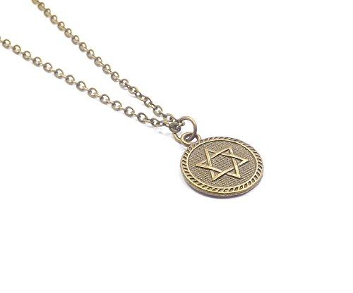 chöne Halskette mit Münze Anhänger Davidstern Kabbala Israel Jüdisch Stern von David Juden (Bronze) (Schwester Jude)