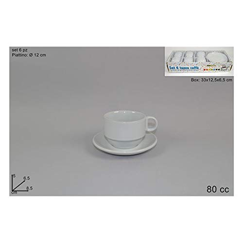 Tazzine caffe' con piattino impilabili pz 6 bianche