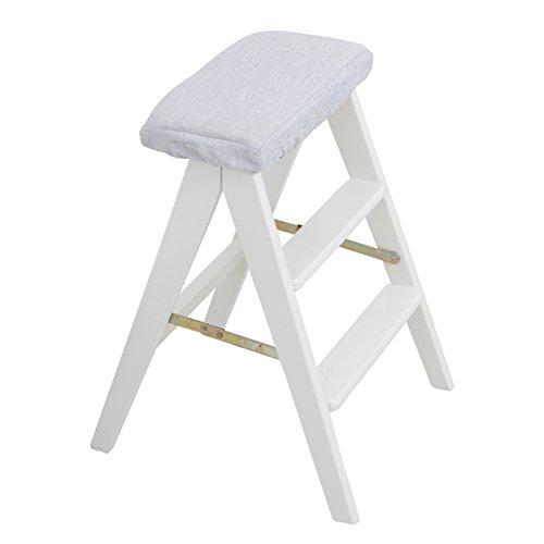 LIXIONG Tabouret Pliable Multifonction Chaise Haute Portable Ménage Monter Échelle en 3 étapes Bois de Caoutchouc, 3 Couleurs, Haute 59CM tabourets de bibliothèque (Couleur : A)