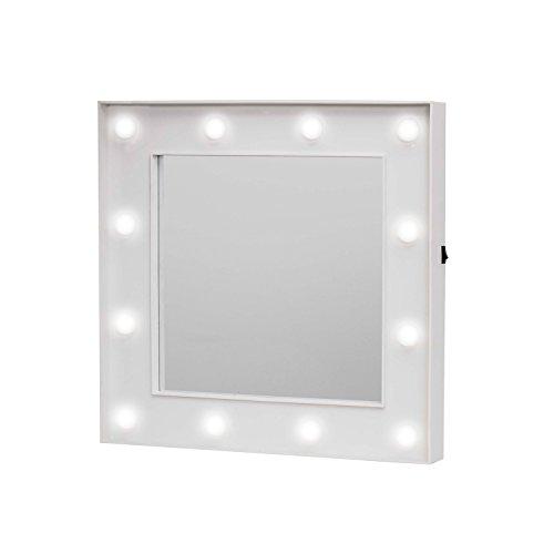 Loom Espejo Hollywood Mirror, plástico, Blanco, 30x 4x 30cm