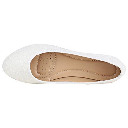 Klassische Damen Ballerinas Leder-Optik Flats Schuhe Übergrößen Flache Slipper Spitze Prints Strass Flandell Weiss Spitze Glitzer