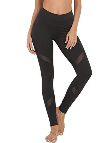FITTOO Sport Leggings Damen hohe Taille Yoga Hose mit Bundtasche – Bauchkontrolle Schwarz XL
