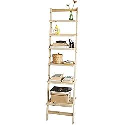 SoBuy® FRG161-N Bibliothèque Étagère Murale Style échelle avec 6 Niveaux de Rangement pour Salle de Bain, Salon, etc.