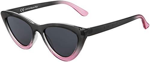 La Optica B.L.M. UV400 CAT 3 CE Damen Sonnenbrille Cateye Sonnenbrille - Einzelpack Glänzend Schwarz/Pink (Gläser: Grau)_LO25 B-Black Pink