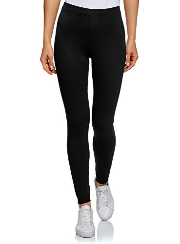 oodji Ultra Damen Leggings Basic, Schwarz, DE 38 / EU 40 / M
