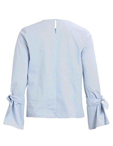 Vila Damen Langarmshirt Vijenner L/S Bow Top/PB Blau (Plein Air Plein Air)