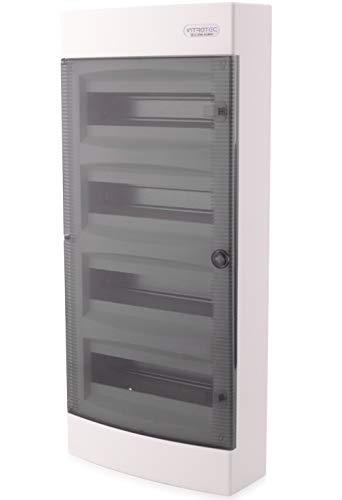 Sicherungskasten Aufputz IP40 Verteiler Gehäuse 4-reihig bis 48 Module Transparenter Tür für die Trockenraum Installation im Haus