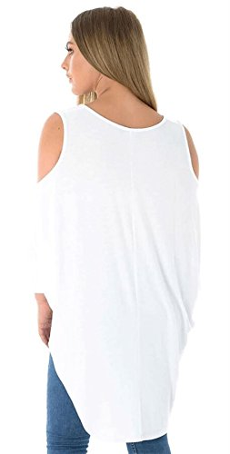 Islander Fashions Mesdames Manches 3/4 Haut Bas Hem Tunique Blouse Top Femmes Paule Froide Fancy Shirt S/XXL white