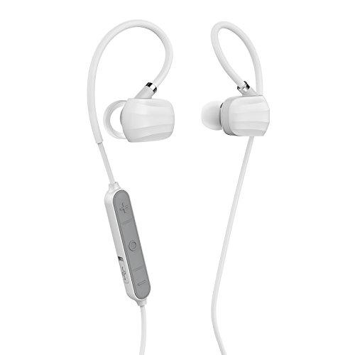 GGMM W710 Auricolare Bluetooth 4.1 senza Fili, Headset Bluetooth Stereo con Microfono, Auricolari della Cuffia di sport, Auricolares con Filo della Memoria, APT-X Technology, CVC Riduzione del Rumore 6.0, IPX4 Impermeabile, Cuffia Mani libere e Voce Chiara per iPhone 7 / 6S / 6 Plus / 5 / 5S / 5C / Se Sumsung Galaxy S6 bordo S7 S6 S5, S4, nota, Huawei P9 / 8 e altri smartphone (Bianco)