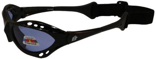 Birdz Eyewear Sonnenbrille Seahawk Schwimmende Polarisierte mit Built in Gurt schwarz Rahmen und polarisierten Licht Blau Objektive