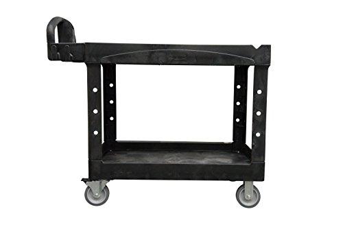 Rubbermaid Commercial Medium Lipped Shelf Heavy Utility Cart - Black
