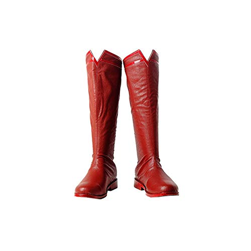 perman Herren,Weihnachten Superheld PU-Leder Kostüme Fasching Kostümparty Bodysuit Mit Umhang,Shoes-43 ()
