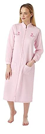 Ladies dressing gown Lightweight Quilted Size UK 10 to 26 robe zip Front Pockets (10/12, pink)