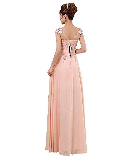 Erosebridal Lang Abendkleider Formal Appliques Abschlussball-Ballkleid Rosa