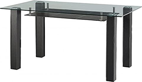 Stanton Dining Table in Clear Glass/Black Faux