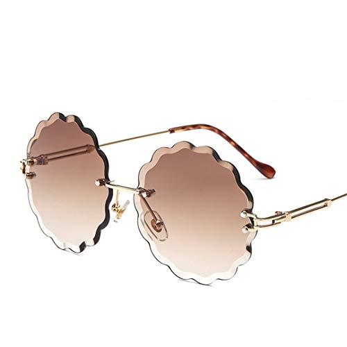DAIYSNAFDN Randlose Gradient Sonnenbrille Frauen Mit Blumen Runde Legierung Rahmen Master Design Sonnenbrille Brown