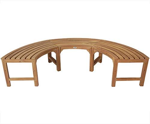 KMH®, 180° Baumbank (Halbkreis) ohne Rückenlehne aus massivem Teakholz! (#102134)