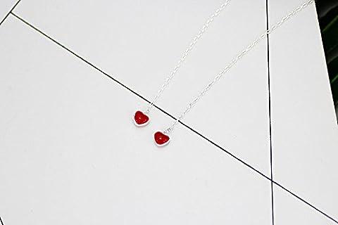 XJoel süße und reizende frische rote Tropfen-Glasur-Liebes-Pfirsich-Herz S925 Sterlingsilber-lange Ohrringe